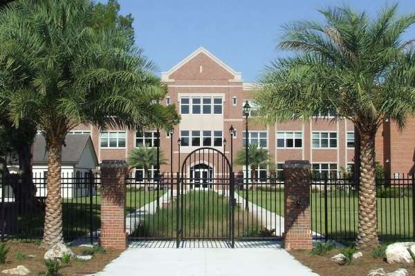 East Campus Office Building entrance with palm trees